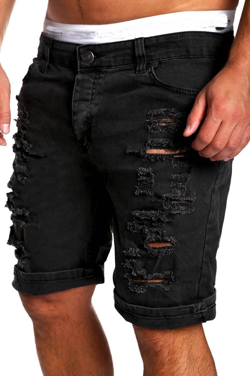 Джинсовые шорты-чиносы мужские, модные скинни из денима с вареным эффектом, Подиумные шорты из денима, рваные джинсовые шорты размера плюс