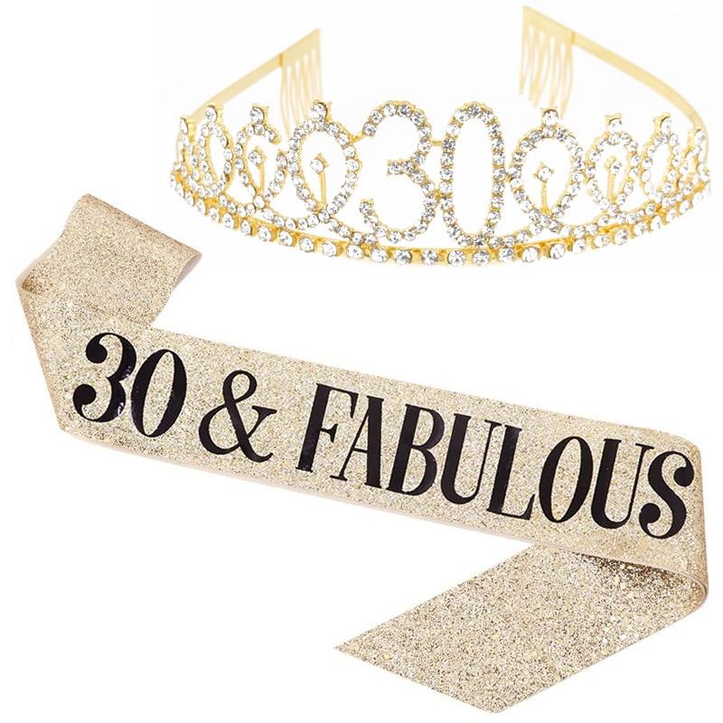18 21 30 40 50 decoraciones para fiesta de cumpleaños, diadema estilo corona de princesa con diamantes de imitación de cristal para adultos, accesorios para mujer, regalo de cumpleaños
