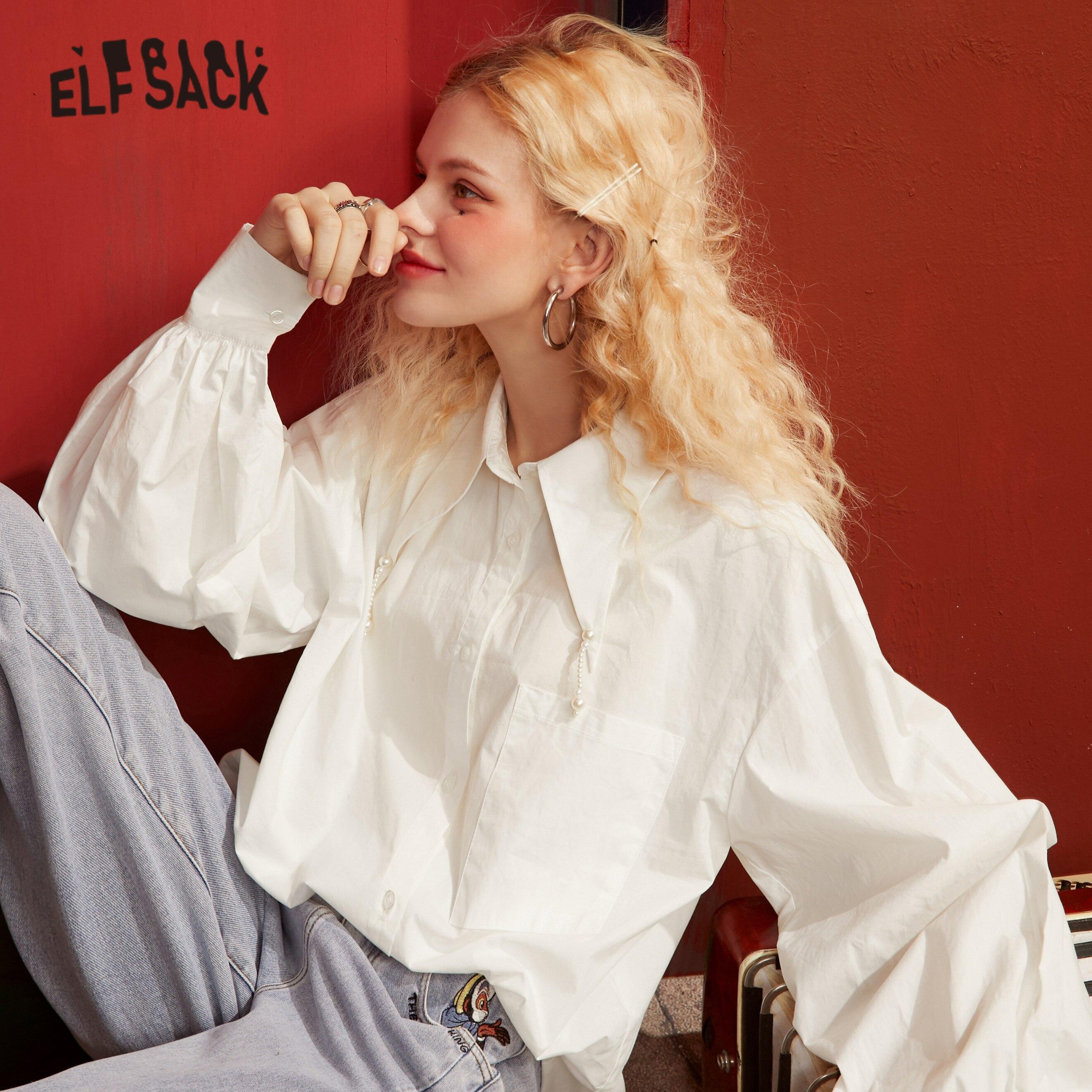 Женская однобортная Повседневная рубашка ELFSACK, однотонная Однотонная рубашка с воротником с жемчужинами и длинным рукавом, базовая Повседн...