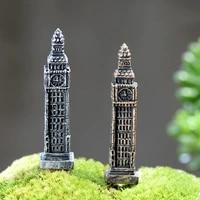 1pc big ben tower figures decorative mini fairy garden animal statue home desktop gift moss ornaments resin craft