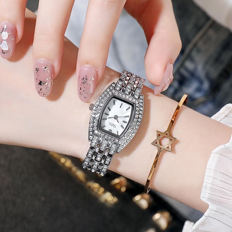Часы наручные женские с бриллиантами, брендовые люксовые модные повседневные, с браслетом
