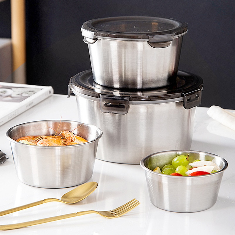 304 Stainless Steel Food Containers Leak Proof Bento Lunch Box Vegetables Fruit Fresh-Keeping Bowl Refrigerator Food Storager
