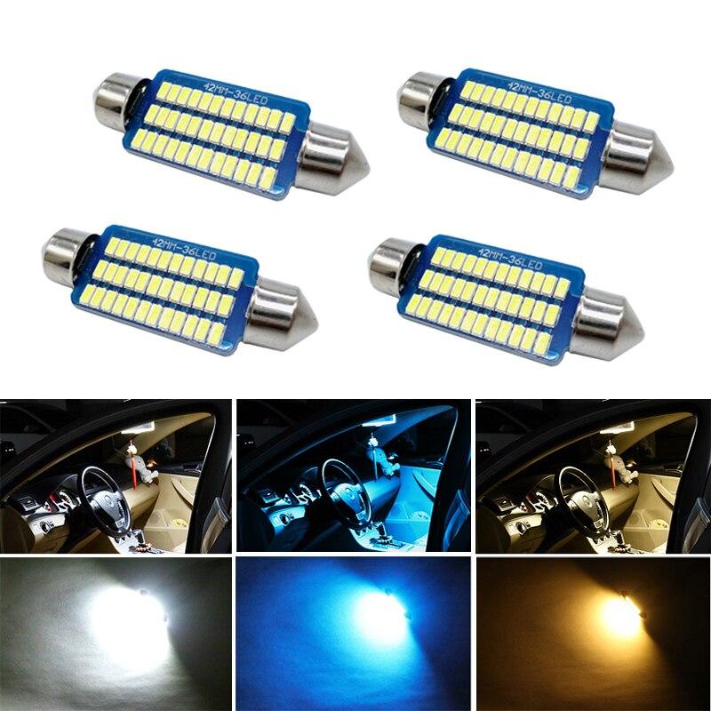 4X adorno/31/36/39/42mm led Luz de coche Canbus C5W lámpara 12V Interior Domo bombilla de lectura para passat b6 MK6 MK3 Passat Jetta6 polo