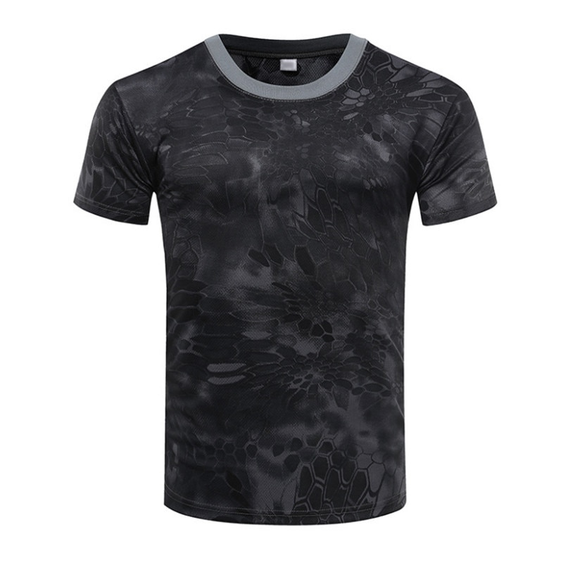 Camiseta de camuflaje de verano de secado rápido transpirable medias ejército táctico camiseta de compresión para hombre Camiseta Fitness Running al aire libre