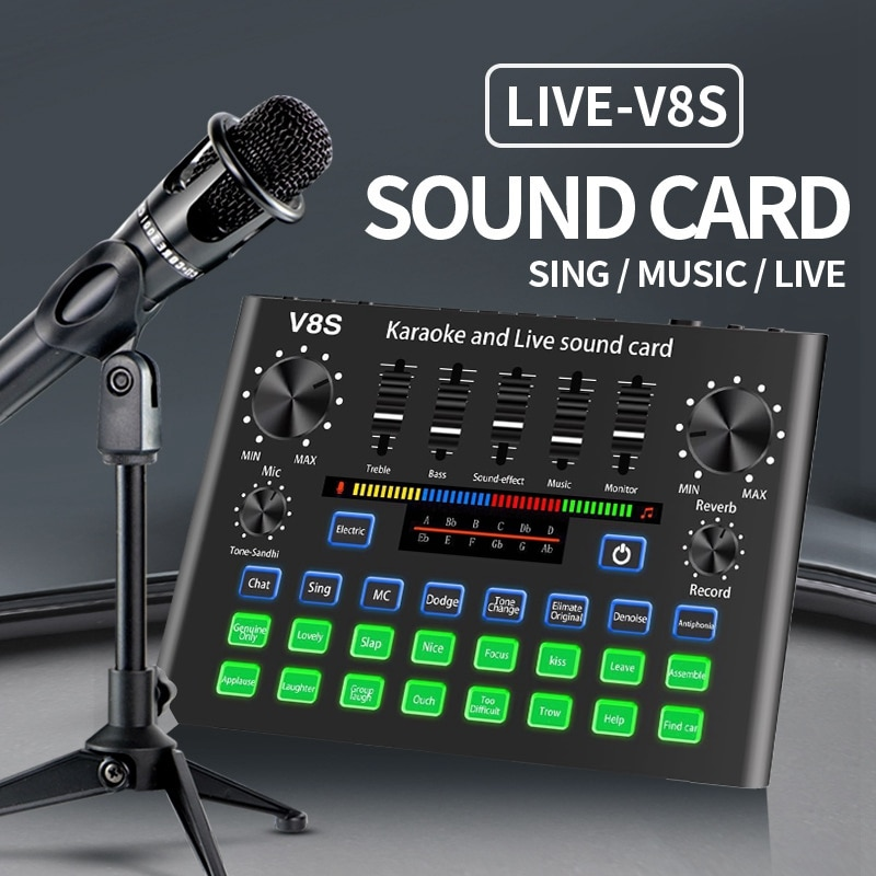 V8S Phone Sound Card Set Bluetooth Microphone Live Broadcast Equipment Computer Universal Microphone Voice Changer