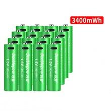 16 Stks/partij Nieuwe 1.5V Aa Oplaadbare Batterij 3400mWh Usb Oplaadbare Lithium Batterij Snel Opladen Via Micro Usb Kabel