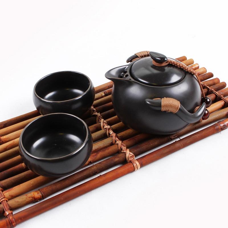 Портативный чайный сервиз включает в себя 1 чайник 2 чайные чашки, красивый и легкий чайник, китайский дорожный керамический портативный чайный сервиз gaiwan