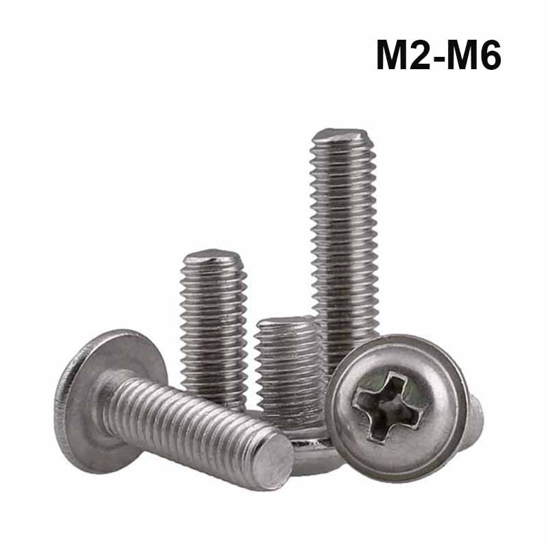 M2 M2.5 M3 M4 M5 M6 304 Stainless Steel Phillips Cross Round Pan Truss Head With Washer Padded Collar Screw Bolt PWM DIN967 m2 m2 5 m3 m4 m5 m6 m8 black white nylon round pan head machine screw metric cross phillips plastic thread bolt