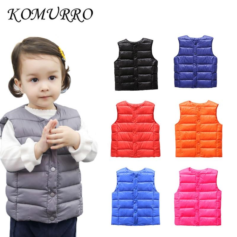Kids Baby Coat Vest Outwear Jacket Boys Light Warm Children's Waistcoats For Boy Girl Cotton Winter Autumn Toddler Coat Clothes