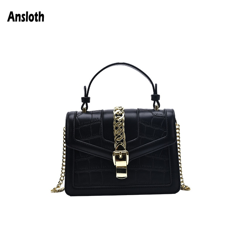 Ansloth Luxury Crocodile Pattern Crossbody Bags For Women Female Chain Handbags Solid Color Small Flap Bags Lady Fashion HPS1012