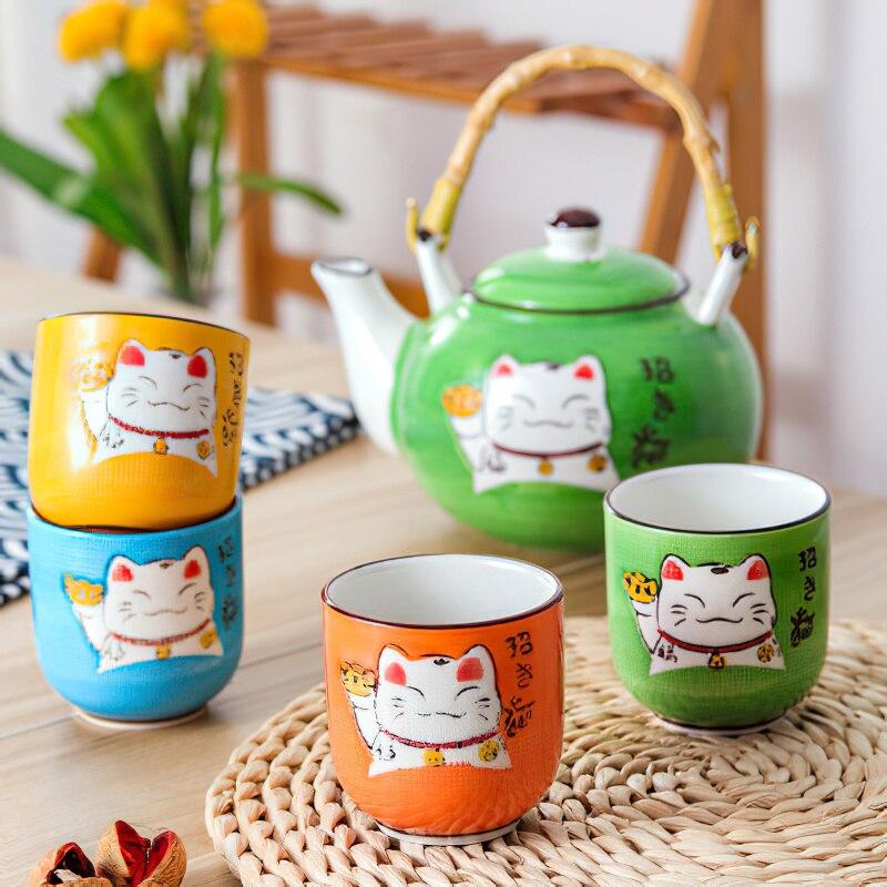 Multicolorido dos Desenhos Conjunto de Chá Bandeja de Madeira Japonês Criativo Animados Gato Sorte Cerâmica Café Estilo Chinês Elevador Feixe Pote Chá Conjunto