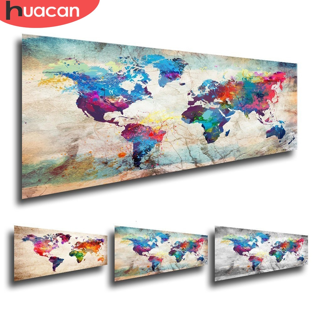 aliexpress - HUACAN Full Square Diamond Painting World Map 5D DIY Diamond Embroidery Sale Landscape Mosaic Picture Of Rhinestone Home Decor