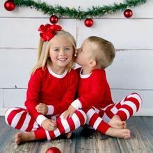 Automne hiver 2 pièces enfant en bas âge enfants à manches longues rouge ensemble bébé garçons filles rayé tenues noël pyjamas ensemble de vêtements de nuit