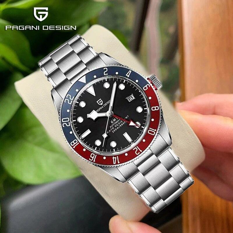 2021 PAGANI تصميم جديد الرجال التلقائي ساعات آلية GMT ساعة 40 مللي متر الياقوت الفولاذ المقاوم للصدأ مقاوم للماء 200 متر Reloj Hombre