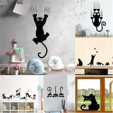 Kreatywna leniwa czarna naklejka ścienna z kotem na wystrój salonu naklejki ścienne Amimals Kids Room tapeta winylowa naklejki