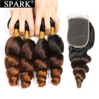 ombre peruvian loose wave bundles with closure 1b430 spark remy hair extension human hair bundles with closure medium ratio