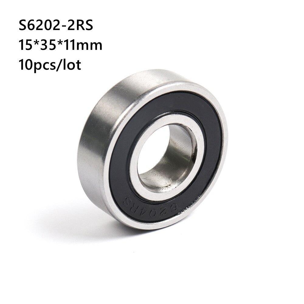 10 قطعة/الوحدة ABEC-5 S6202RS S6202-2RS 15*35*11 مللي متر الفولاذ المقاوم للصدأ الكرة أخدود عميق تحمل 15x35x11mm