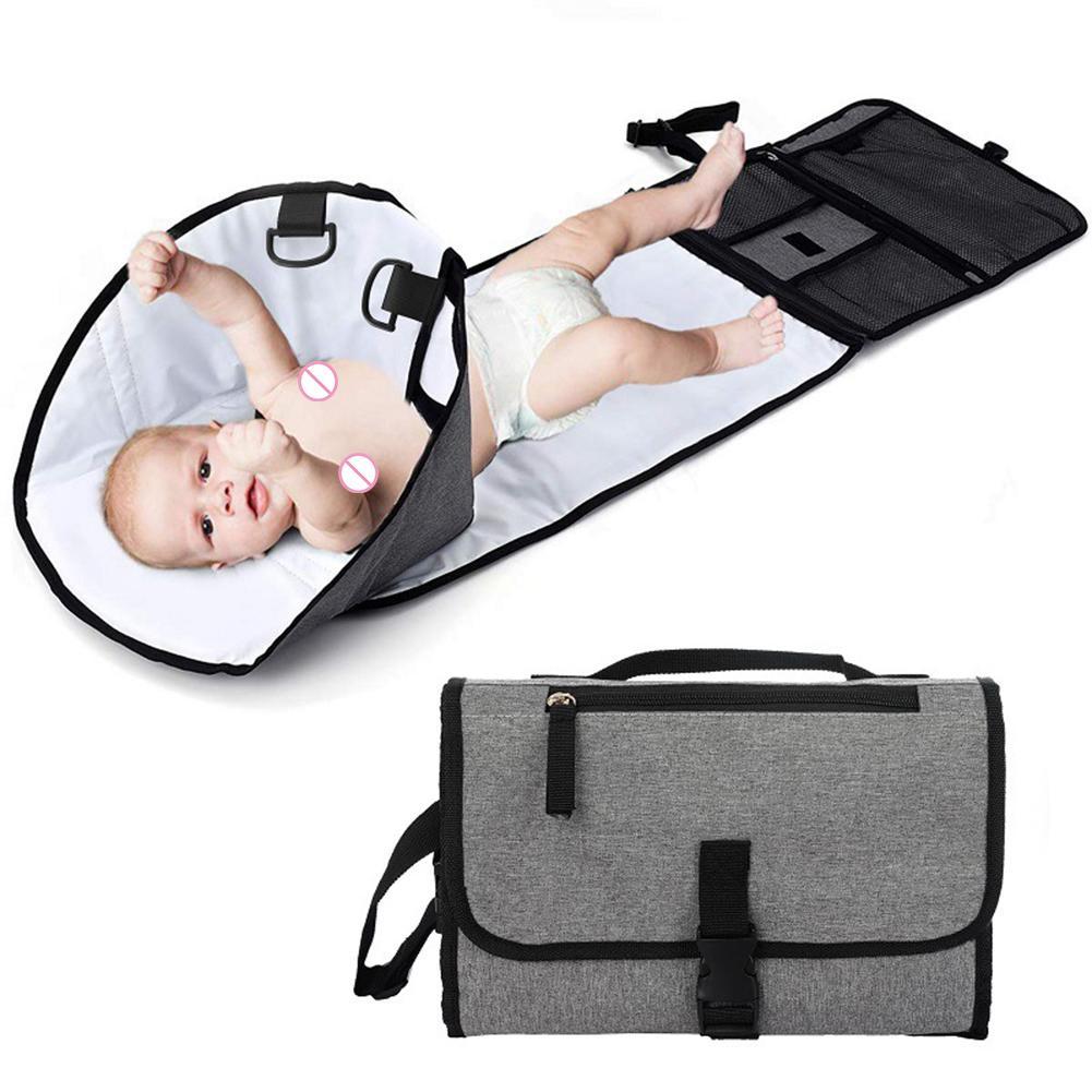 Cambiador de pañales de bebé portátil, bolsa de almacenamiento de mamá Separable impermeable, esterilla plegable, suministros de cuidado higiénico para recién nacidos