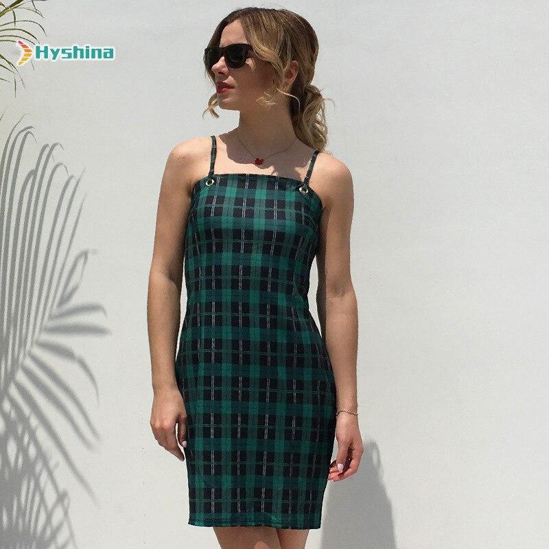 Sexy Mini vestido Sexi 2020 verano Mujer nuevo abierto espalda hombro Correa paquete A cuadros Hip una palabra Vestido Mujer Casual Club vestido