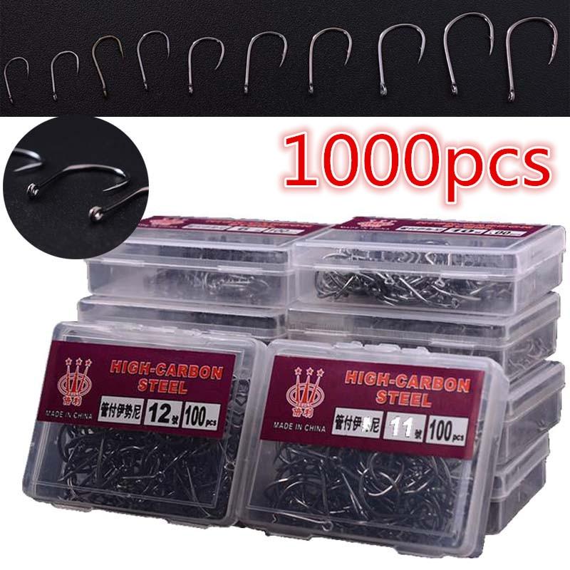 AliExpress - 1000Pcs Fishhooks High Carbon Steel Fish Hooks 3#-12# 10 Sizes Assorted Fishing Bait Sharpened 10 Box Bait Hook Jig Holder Tools
