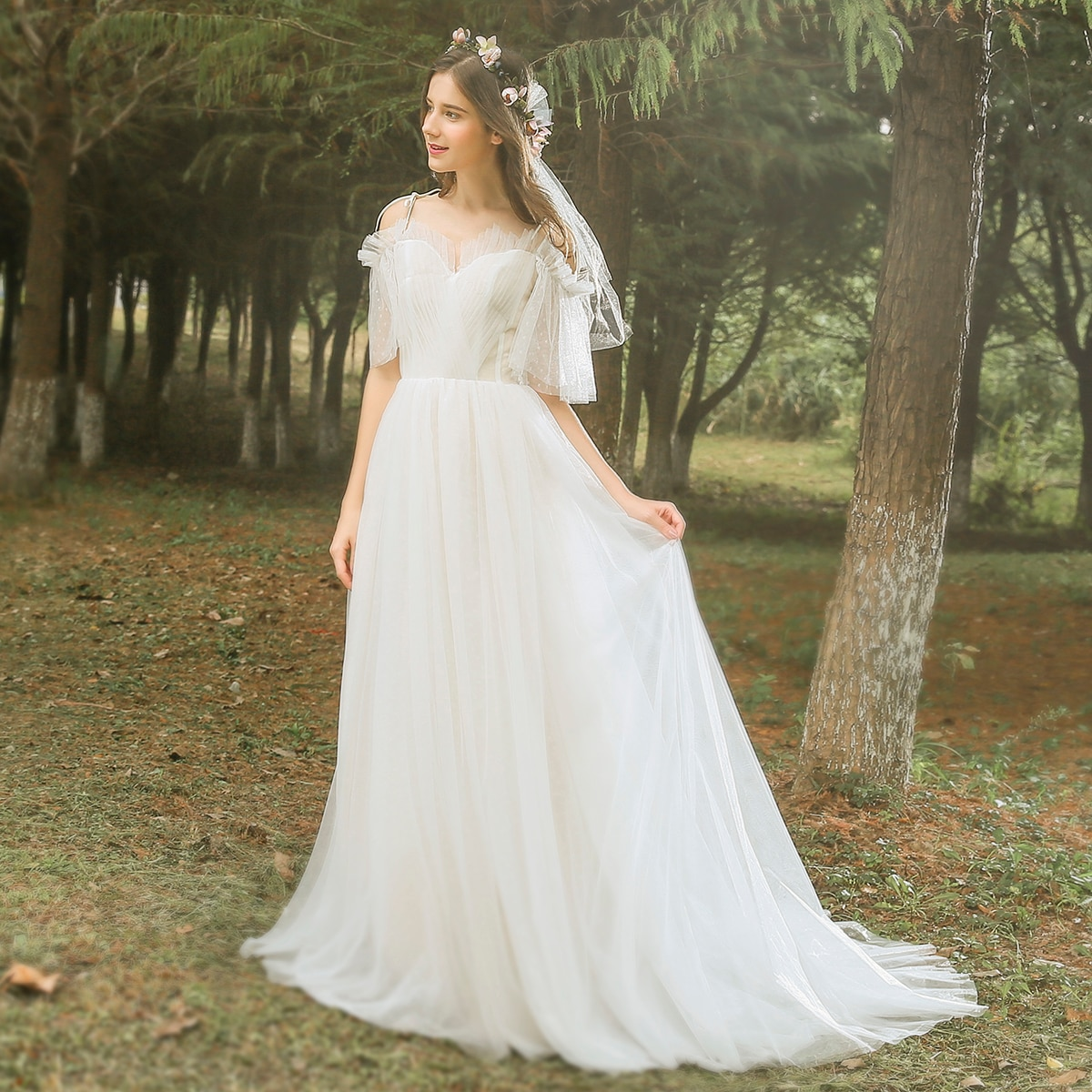 Review Polka Dots Sweetheart Wedding Dress Lace Up Lantern Sleeve Plus Size Real Photo Beach Woodland 2021 Photoshoot Bridal Gown 1000#