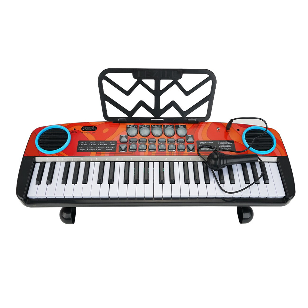 Portable 49 Keys Digital Keyboard Electric Piano With Microphone Music Stand Kids Child Toy Musical