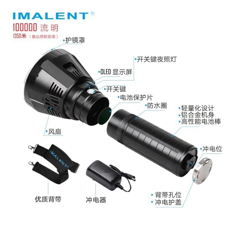 IMALENT MS18 LED Flashlight 100000 Lumens CREE XHP70.2 High Power Military Tactical Flashlight with 21700 Battery for Camping enlarge