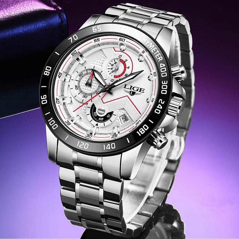 2020 LIGE Mens Watches Top Brand Luxury Fashion Business Quartz Watch Men Sports Watch Waterproof White Clock Relogio Masculino