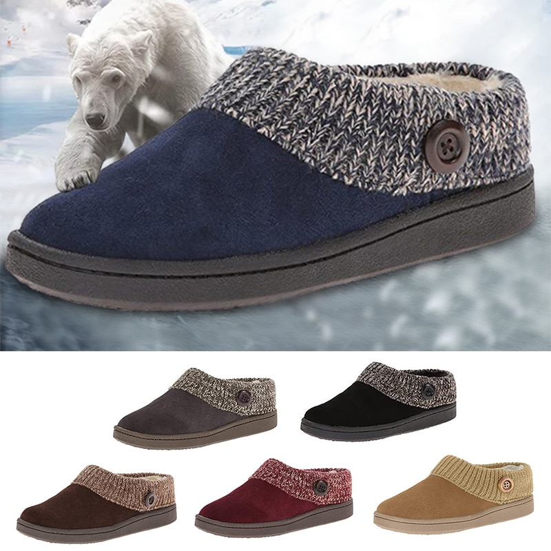 New Winter Warm Women Knitted Scuff Slipper Flat Soft Fur Comfortable Shoes Ladies Flock Shoes Home Footwear Unisex Slippers