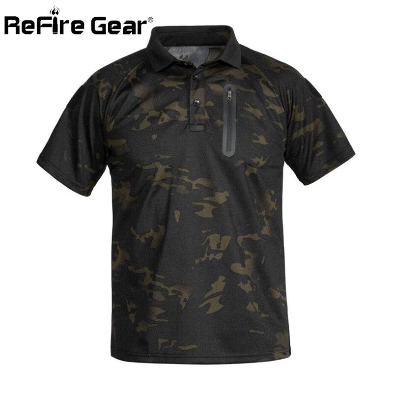 ReFire Gear جديد التكتيكية العسكرية التمويه تي شيرت الذكور تنفس سريعة الجافة الجيش القتالية قميص بولو بكم قصير قميص للرجال