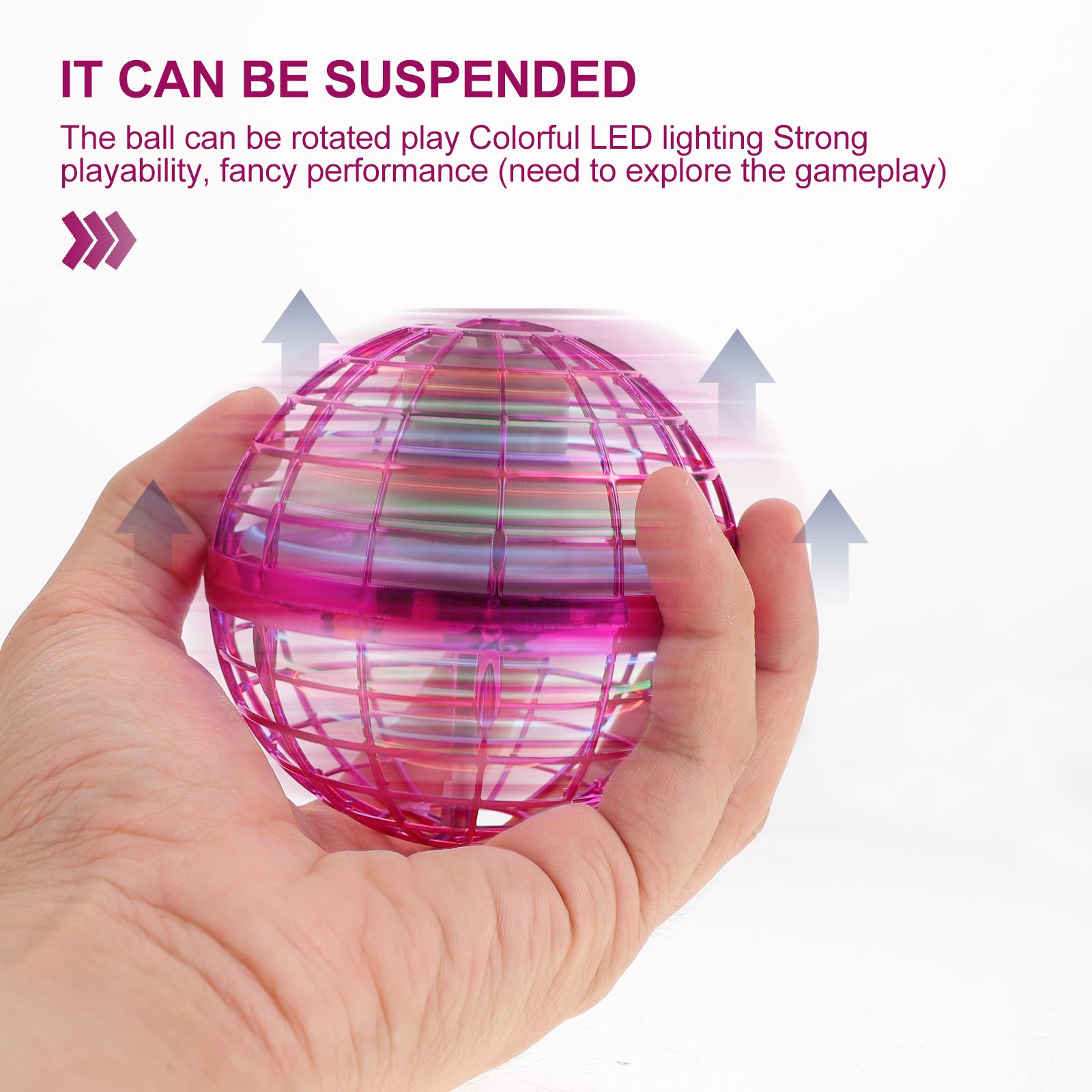 1Pc Funny Gyrator Flying Spinner 360° Rotating Fly Ball with Colorful RGB Light Hand Gesture Control Gift Toys for Kid Adult enlarge