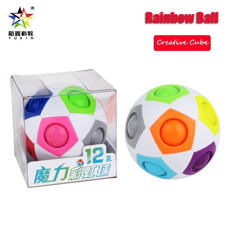 Yuxin, bola creativa de arco iris, cubos mágicos, Bola de rompecabezas de velocidad, juguetes educativos divertidos de aprendizaje para niños
