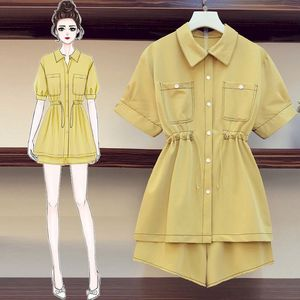 Women's Suits Fashion Tooling Suit Korean Loose Short-sleeved Shirts Short Pants Two Piece Sets Kawaii Clothes 2021 Summer New