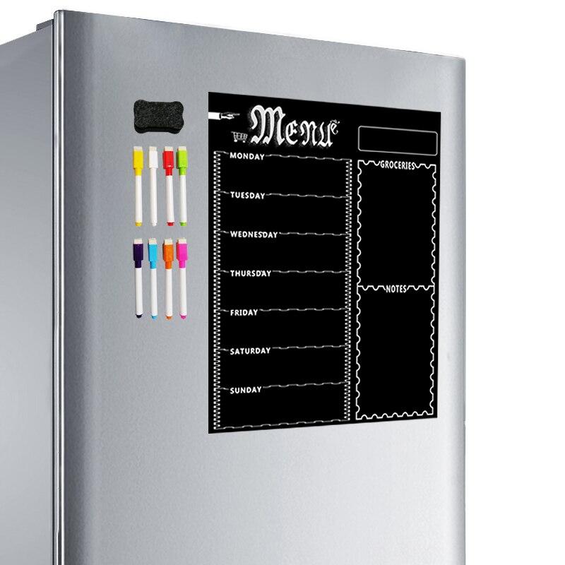 Lámina de pizarra magnética A3 para nevera de cocina, calendario de pizarra blanca semanal multiusos para planificación de menú con 8 bolígrafos