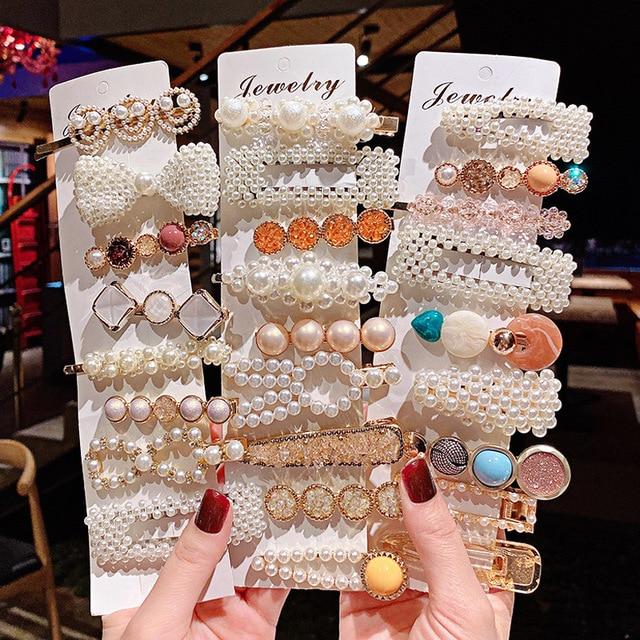 1 Juego De Pinzas Para El Pelo De Perlas Para Mujer Accesorios Para El Cabello Horquillas Bb Herramientas De Estilismo Pasadores Accesorios Para El Pelo De Mujer Aliexpress
