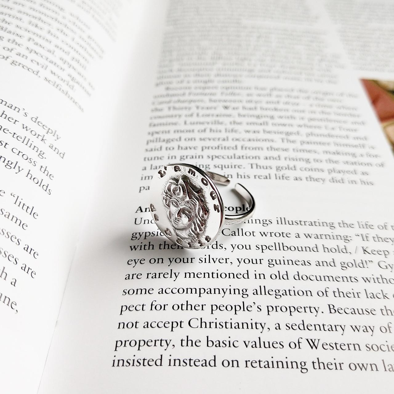 Europeu e americano 925 prata esterlina irregular retrato alívio anel ajustável anel de dedo indicador feminino anel comum
