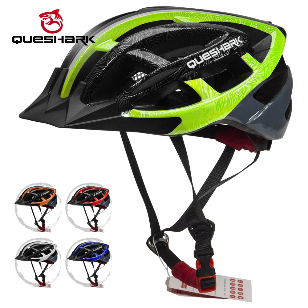 Queshark profissional capacete de ciclismo ultraleve eps + pc capa mtb road bike capacete integralmente-mold ciclismo com segurança boné