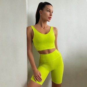 2 Piece Set Women Yoga Suits Fitness Sportswear Clothing Trackuit Tank Top Pocket Leggings Sets Gym Bicycle Outfit, ZF901