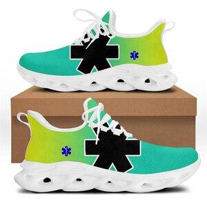 WHEREISART Paramedic EMT EMS Design Women Fashion Vulcanized Shoes Spring/Autumn Casual Flats Cushion Flex Control Sport Sneaker