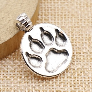 Charms for Jewelry Making Findings Handmade DIY Craft 10pcs Antique Silver Color 21x28mm Dog Paw Bear Paw Charms Pendant