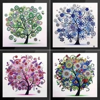 Diamant broderie quatre saisons arbres photo special en forme de diamant peinture couture strass 5d point de croix decor a la maison