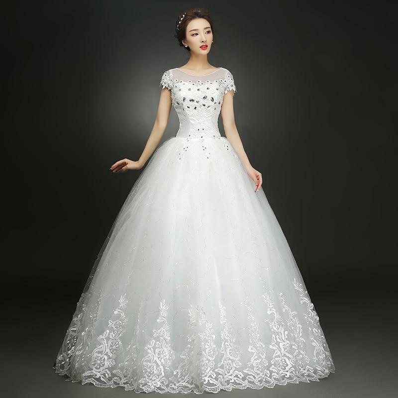 فستان زفاف عتيق من الدانتيل ، رقبة مستديرة ، مصنوع حسب الطلب ، أكمام قصيرة ، فستان أميرة ، مقاس كبير ، أزياء