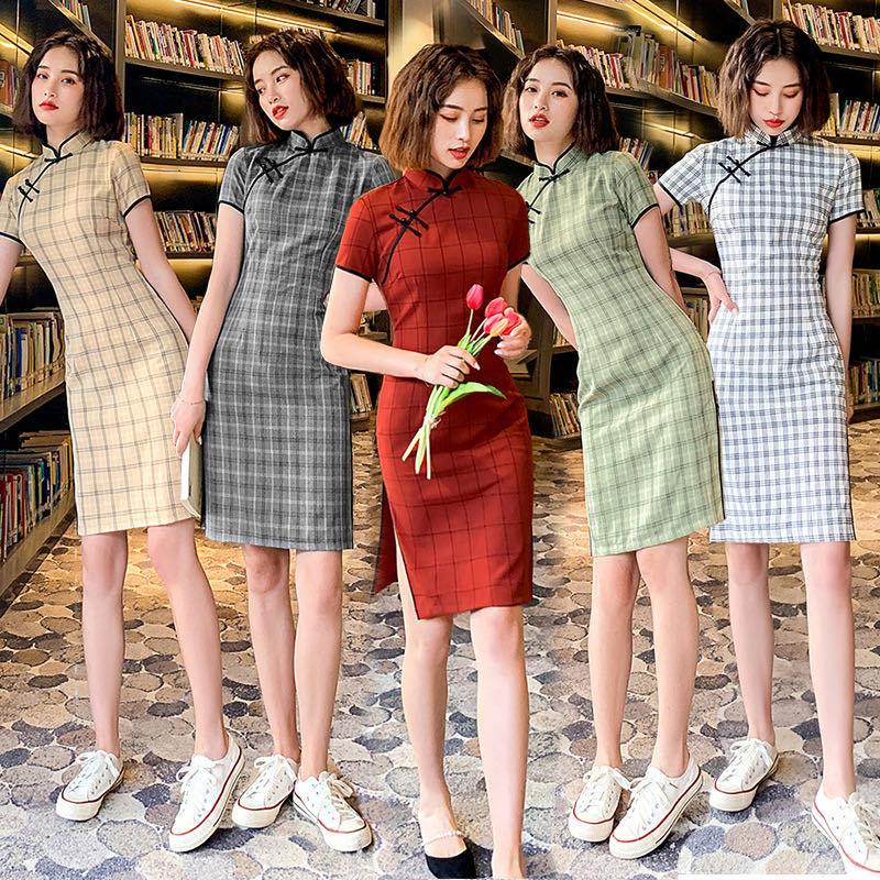 السنة الصينية الجديدة مساء حفلة شبكة نمط القطن رخيصة تشيباو فستان للنساء
