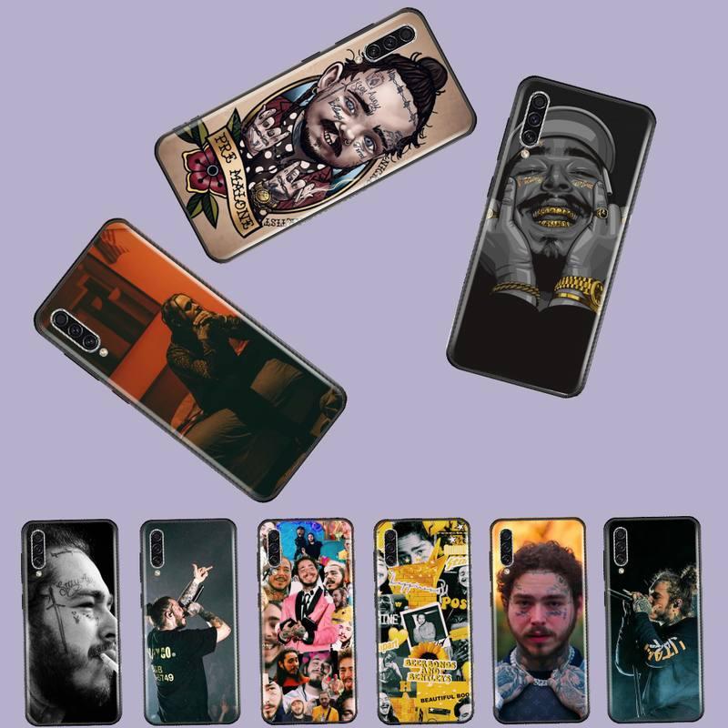 Post Malone, cantante estadounidense, funda de teléfono negra suave para Samsung A20 A30 30s A40 A7 2018 J2 J7 prime J4 Plus S5 Note 9 10 Plus