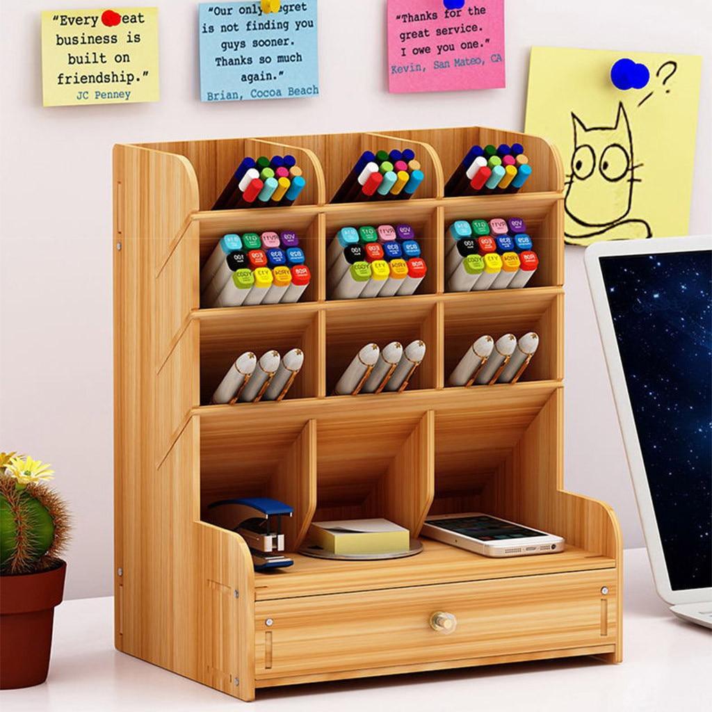 Ящик для хранения, сетка с выдвижным ящиком Офис деревянная настольная подставка для ручек канцелярские ящик для хранения мусора # YL10