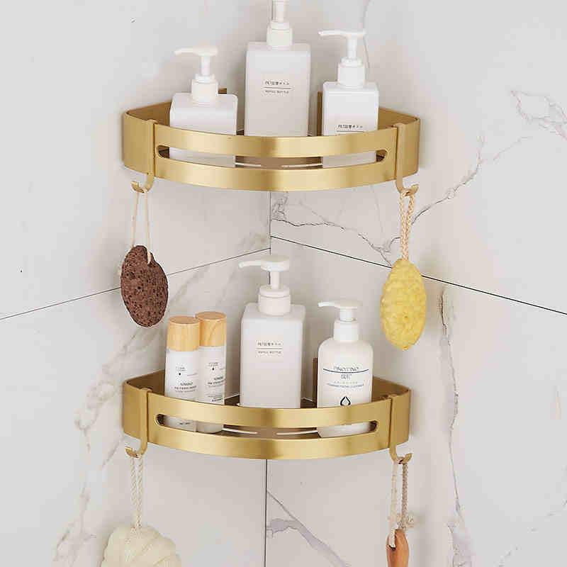 نحى الذهب معدن رف زاوية للحمام الحائط تخزين حامل أرفف مربع واحد أو مزدوج الرف