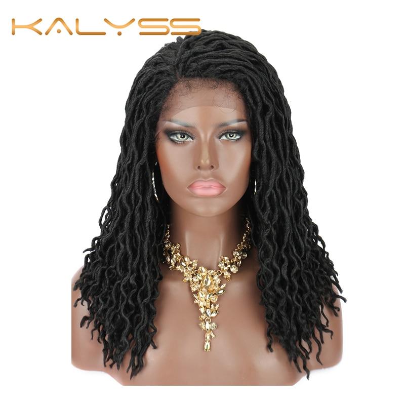 Kalyss 18 Faux Locs Lace Wig desordenado diosa Crochet pelo trenzado pelucas de pelo bohemio ondulado trenzas sintéticas frente Ombre trenzado