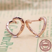 hot original 925 sterling silver earring rose bright heart earrings for women wedding party gift europe fashion jewelry
