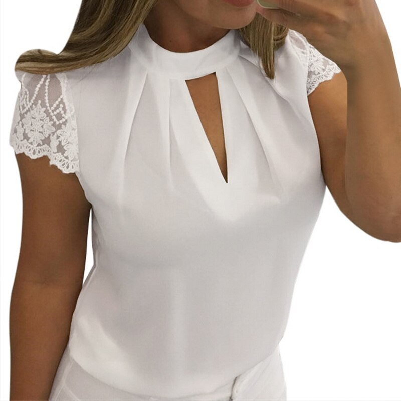 MoneRffi 2019, Blusas de encaje sexis para mujer, camiseta sin mangas calada para mujer, camiseta Casual sólida de oficina, Blusas de talla grande, ropa de calle con cuello en V