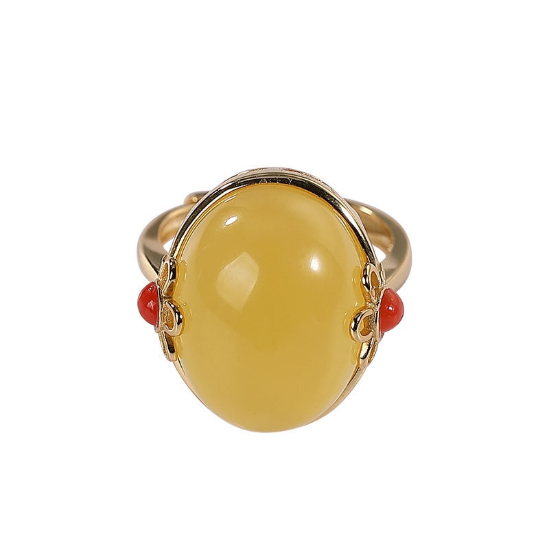 Baifuming s925 sterling silver gold-plated natural amber ring retro elegant plum egg noodles ladies ring